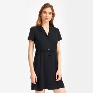 Everlane Black Japanese GoWeave Notch Shirt Dress
